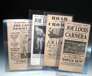 Four Fight broadsides for Joe Louis