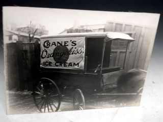 Photograph of Crane's Ice Cream Horse-drawn Wagon (circa. 1930). Harry B. Leopold.