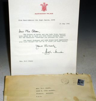 Buckingham Palace, 1 Typed Letter Signed from Rear Admiral Sir Hugh Janion, on Behalf of the...