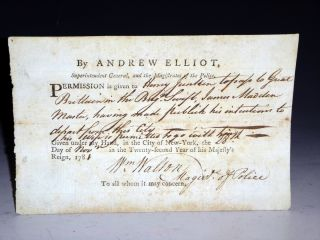 Document, American Revolution. New York. November 28, 1781. Andrew Elliot.