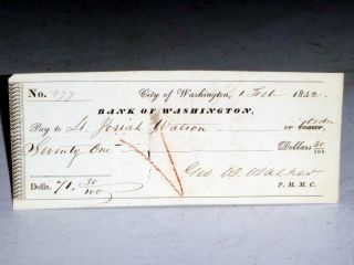 Original 1842 Paymaster's Check to Washington, D.C. Officer, Lt. Josiah Watson, February 1, 1842