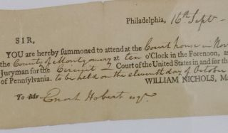 U.S. District Court. Morristown, New Jersey, 1799. Court Summons for Enoch Hobert