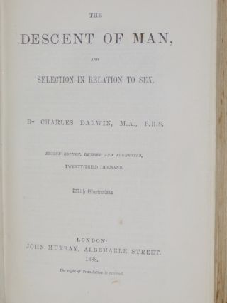 The Descent of Man: And selection in Relation to Sex