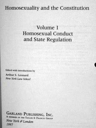 Homosexuality and the Constitution (4 Volume set)