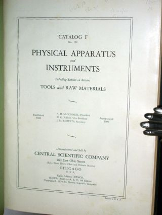 Physical Apparatus and Instruments, Catalog f No. 129-2