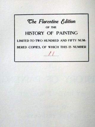 History of Painting (8 Vol Set), the Florentine Edition, Limited to 250 Copies,.
