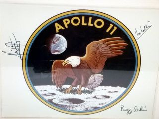 NASA Official 1969 Official Badge By the Entire Crew of Apollo 11 for Gordon Bell, U.S Consul to Australia, November 1969.