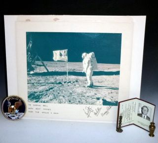 Official NASA Photograph of Buzz Aldrin on the Moon's Surface Signed By All Three Astronatuts of...