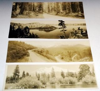 "4 Harwood Photographs: ""Through the Redwoods"", ""Crater Lake, Ore"", ""the Switchback, Redwood..."