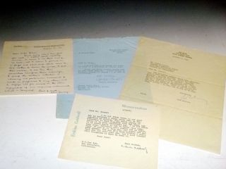 A Collection of 4 Letters By 20th Century authors on Writing. Erskine Caldwell, Agatha Christie,...