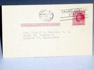 Postcard Reply to Father Donald K. Sharpes, March 24, 1958