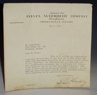 Auburn Automobile Company, 1 Page Typed, Letter, May 6, 1937