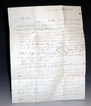 2 page autographed Bifolium to James R. Williams, April 20, 1842. Dr. Lyman Bartlett