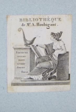 Bookplate for the Library of Mr. A. Houbigant. Armand-gustave Houbigant