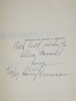 Memoirs/Vol. 1. Year of Decisions; Vol. 2. Years of Trail and Hope ( Inscribed By Harry S. Truman)