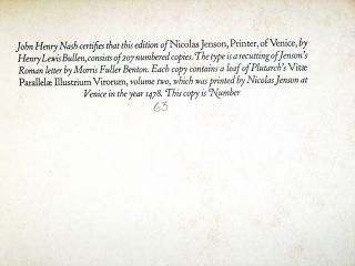 Nicolas Jenson, Printer of Venice: his famous type designs and some comment upon the printing types of earlier Printers