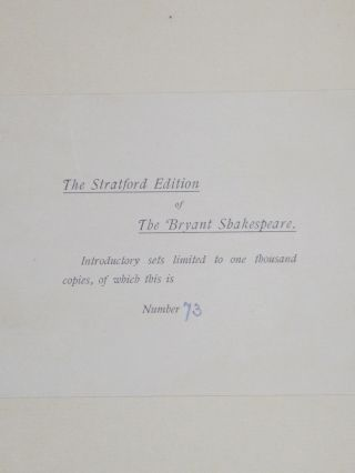 The Complete Works of William Shakespeare (Stratford Edition) 6 Volumes