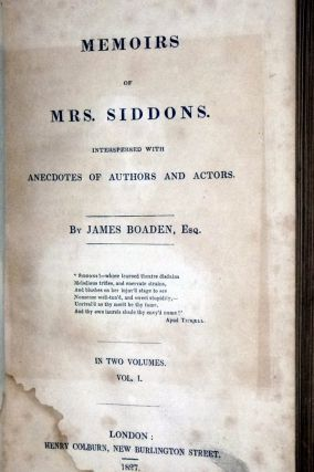 Memoirs of Mrs. Siddons; Interspersed with Anecdontes of Authors and Actors (2 Volume set)